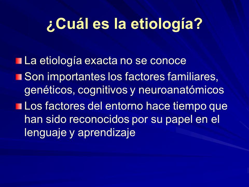 ¿Cuál es la etiología? La etiología exacta no se conoce Son importantes los factores familiares, genéticos, cognitivos y neuroanatómicos Los factores
