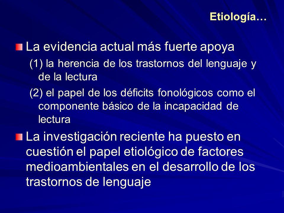 Etiología… La evidencia actual más fuerte apoya (1) la herencia de los trastornos del lenguaje y de la lectura (2) el papel de los déficits fonológico