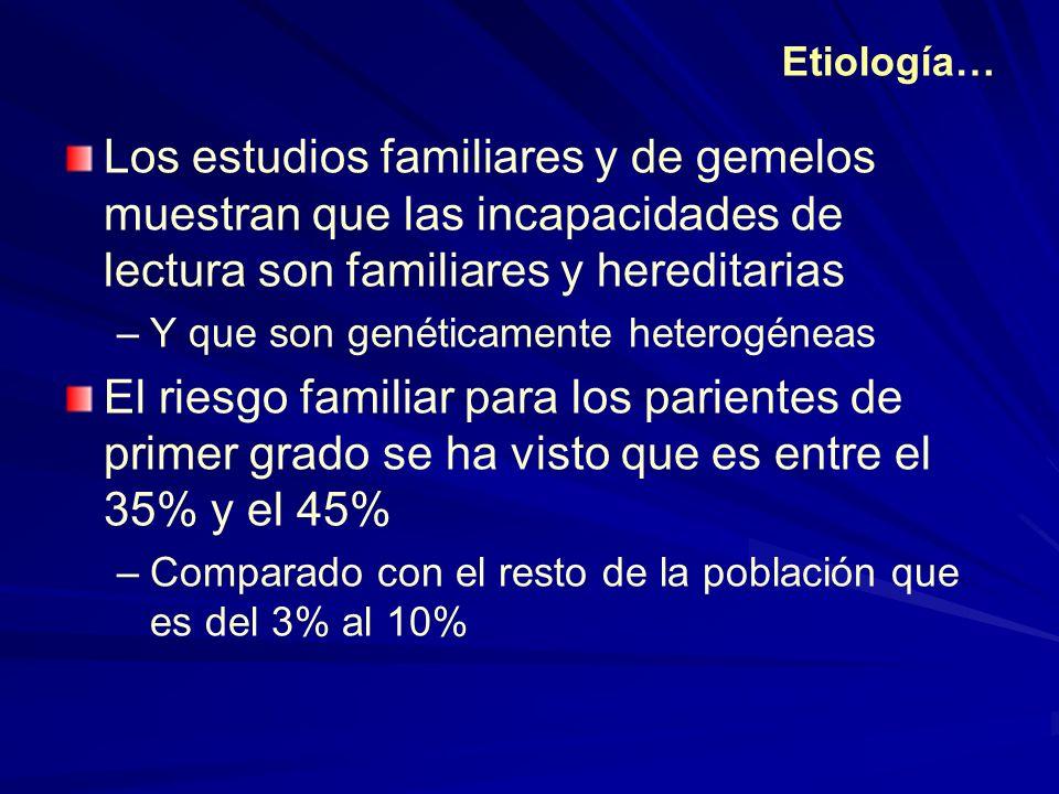 Los estudios familiares y de gemelos muestran que las incapacidades de lectura son familiares y hereditarias –Y que son genéticamente heterogéneas El