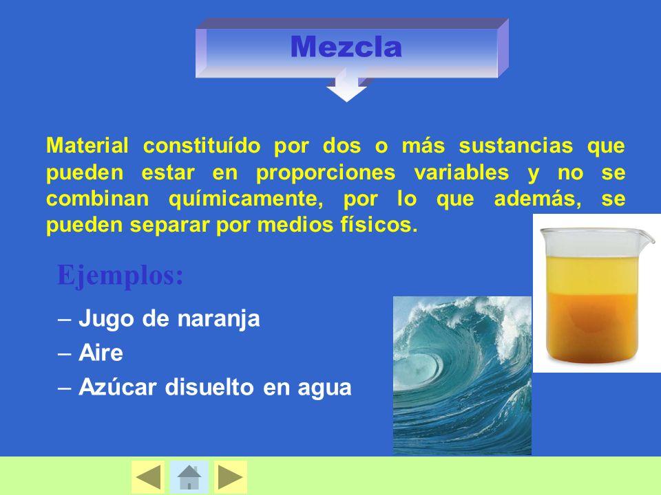 Mezcla –Jugo de naranja –Aire –Azúcar disuelto en agua Material constituído por dos o más sustancias que pueden estar en proporciones variables y no se combinan químicamente, por lo que además, se pueden separar por medios físicos.