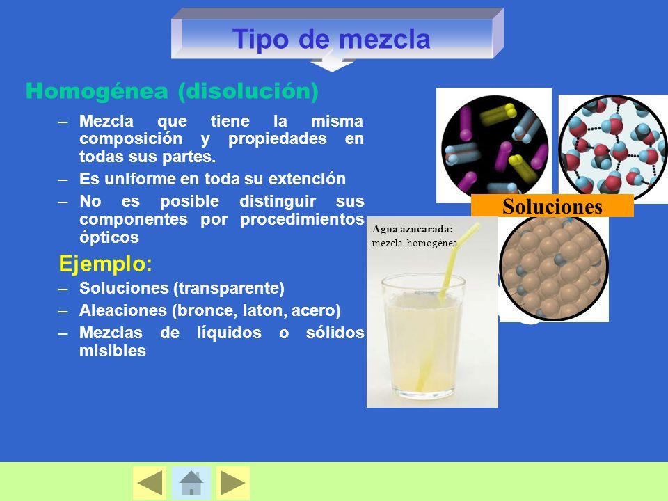 Homogénea (disolución) –Mezcla que tiene la misma composición y propiedades en todas sus partes.