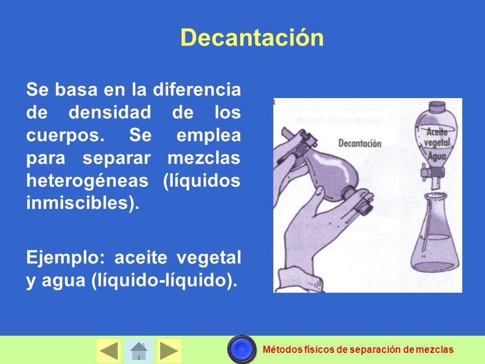 Decantación Se basa en la diferencia de densidad de los cuerpos.