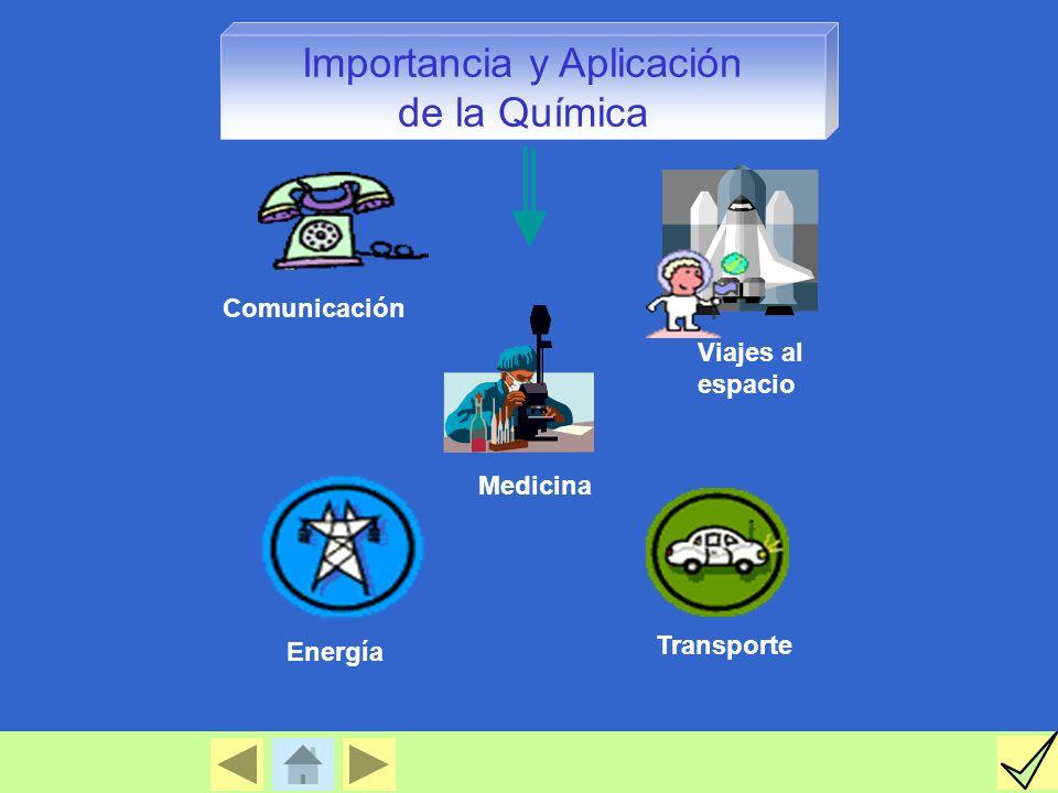 Medicina Comunicación Viajes al espacio Transporte Energía Importancia y Aplicación de la Química