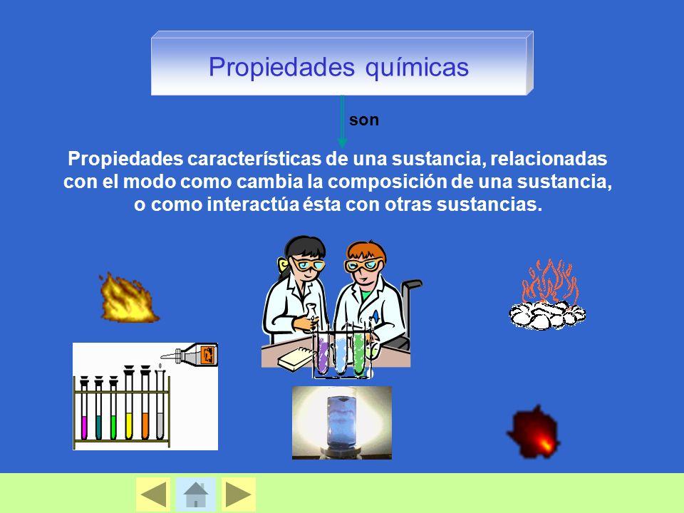 Propiedades químicas Propiedades características de una sustancia, relacionadas con el modo como cambia la composición de una sustancia, o como interactúa ésta con otras sustancias.
