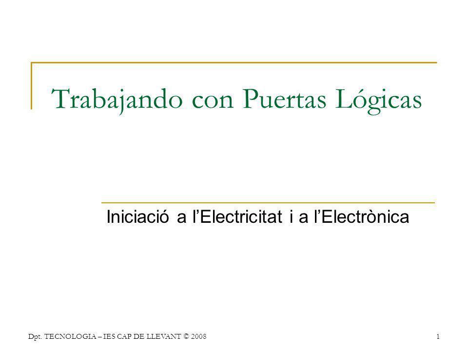 Dpt. TECNOLOGIA – IES CAP DE LLEVANT © 20081 Trabajando con Puertas Lógicas Iniciació a lElectricitat i a lElectrònica
