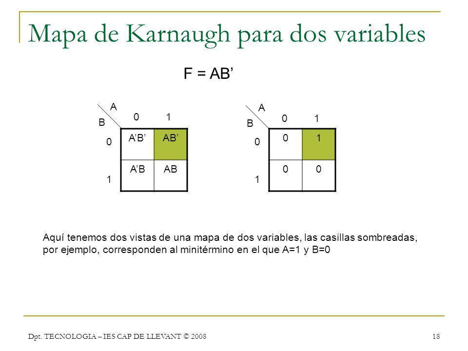 Dpt. TECNOLOGIA – IES CAP DE LLEVANT © 2008 18 Mapa de Karnaugh para dos variables AB 01 00 0 1 0101 A B Aquí tenemos dos vistas de una mapa de dos va