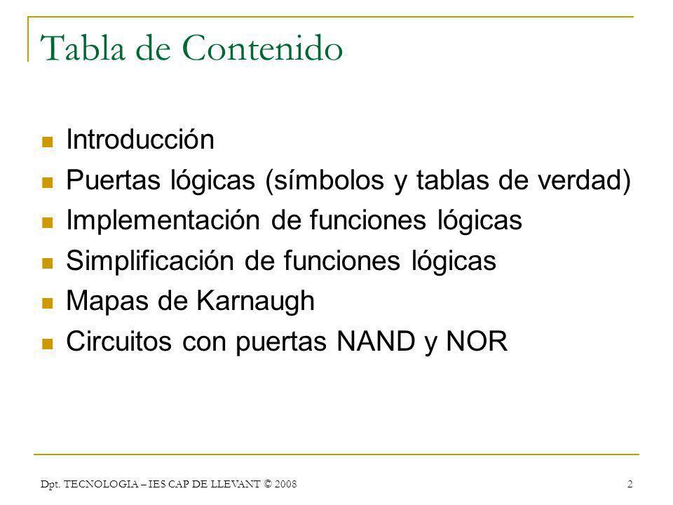 Dpt. TECNOLOGIA – IES CAP DE LLEVANT © 2008 2 Tabla de Contenido Introducción Puertas lógicas (símbolos y tablas de verdad) Implementación de funcione