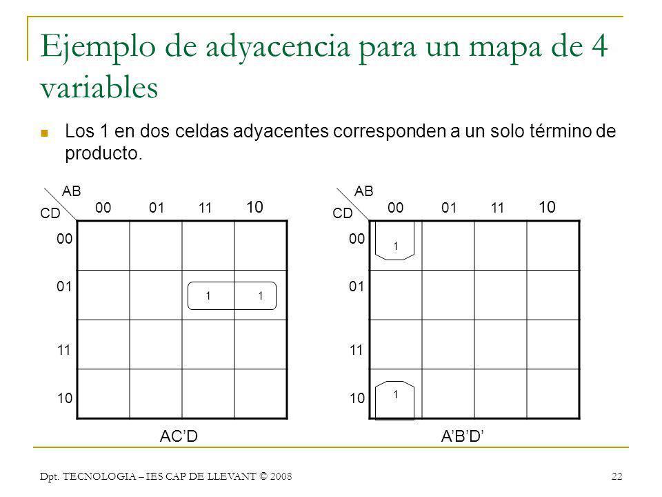 Dpt. TECNOLOGIA – IES CAP DE LLEVANT © 2008 22 Ejemplo de adyacencia para un mapa de 4 variables Los 1 en dos celdas adyacentes corresponden a un solo