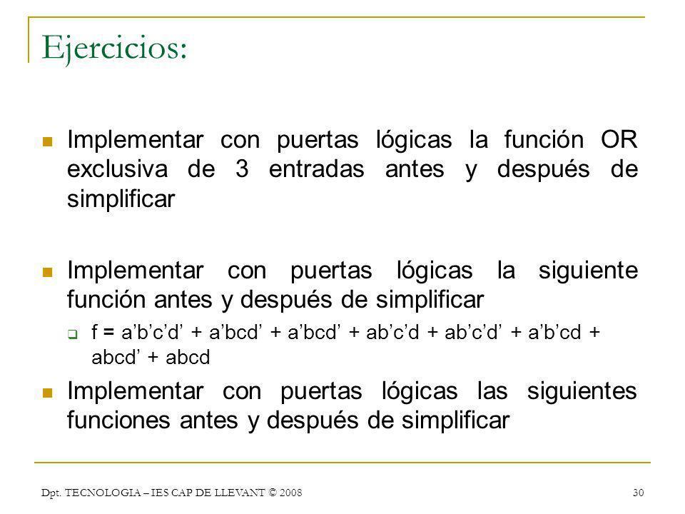 Dpt. TECNOLOGIA – IES CAP DE LLEVANT © 2008 30 Ejercicios: Implementar con puertas lógicas la función OR exclusiva de 3 entradas antes y después de si