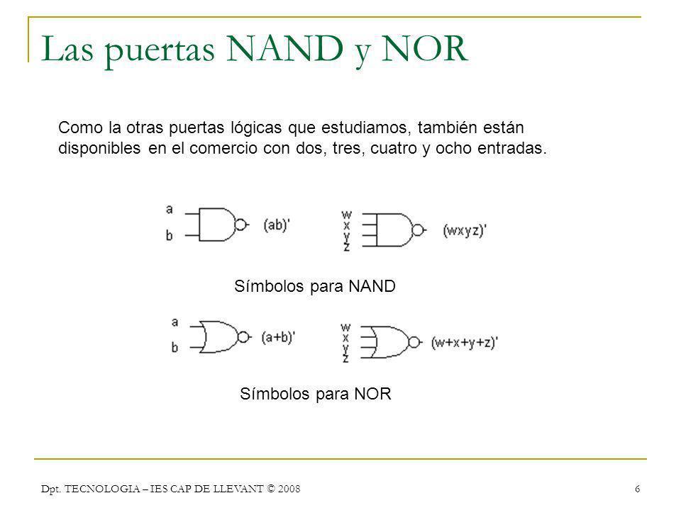 Dpt. TECNOLOGIA – IES CAP DE LLEVANT © 2008 6 Las puertas NAND y NOR Como la otras puertas lógicas que estudiamos, también están disponibles en el com