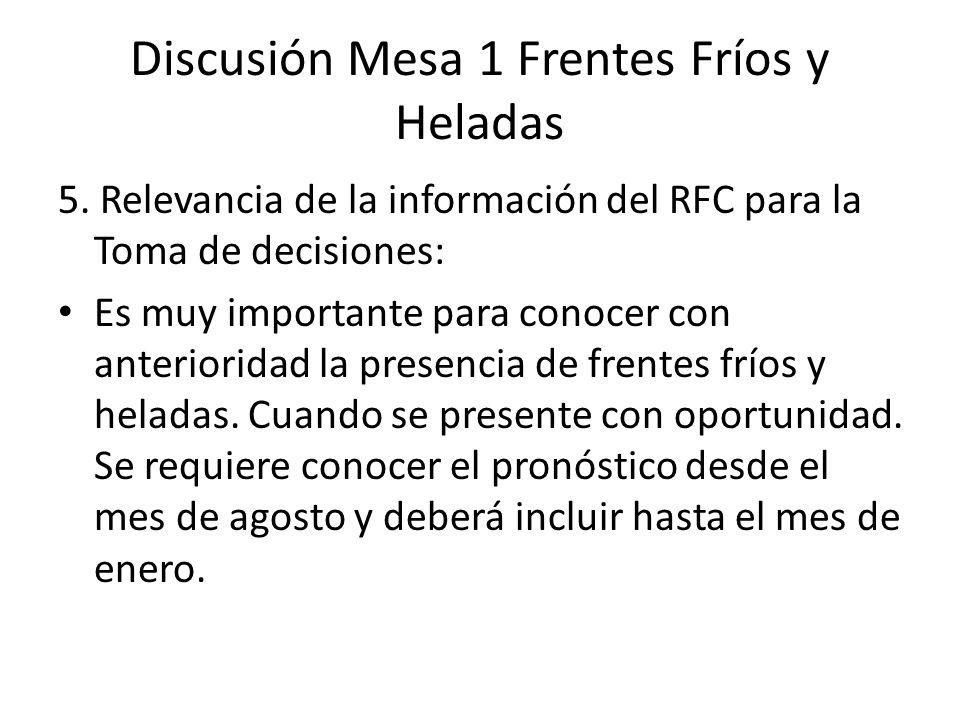 5. Relevancia de la información del RFC para la Toma de decisiones: Es muy importante para conocer con anterioridad la presencia de frentes fríos y he