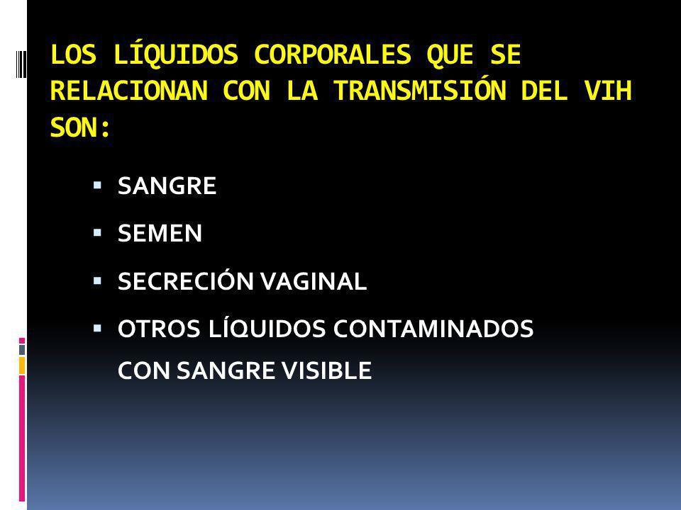LOS LÍQUIDOS CORPORALES QUE SE RELACIONAN CON LA TRANSMISIÓN DEL VIH SON: SANGRE SEMEN SECRECIÓN VAGINAL OTROS LÍQUIDOS CONTAMINADOS CON SANGRE VISIBL