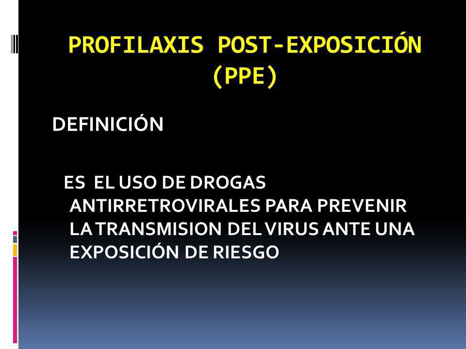 PROFILAXIS POST-EXPOSICIÓN (PPE) DEFINICIÓN ES EL USO DE DROGAS ANTIRRETROVIRALES PARA PREVENIR LA TRANSMISION DEL VIRUS ANTE UNA EXPOSICIÓN DE RIESGO