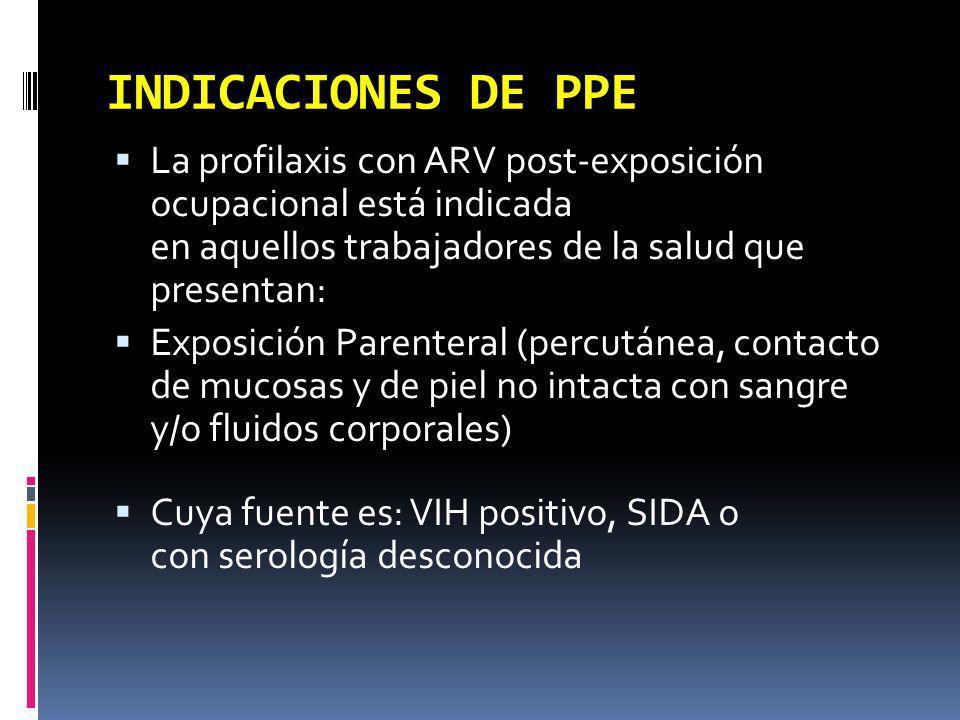 INDICACIONES DE PPE La profilaxis con ARV post-exposición ocupacional está indicada en aquellos trabajadores de la salud que presentan: Exposición Par