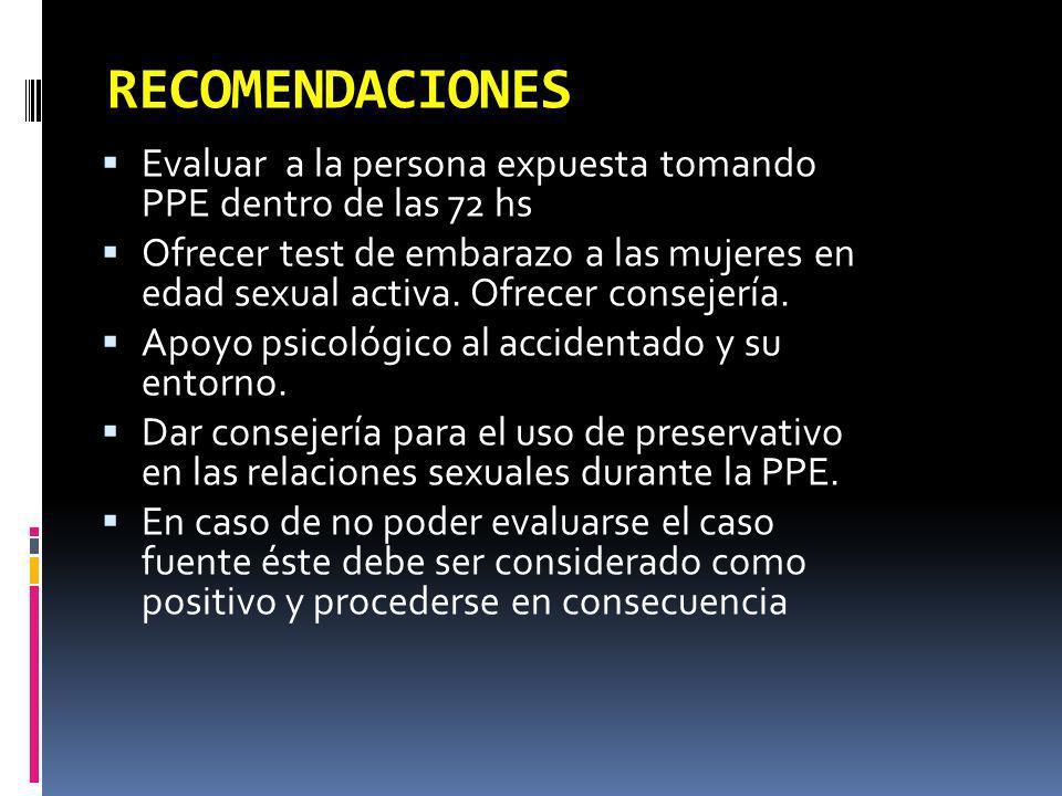 RECOMENDACIONES Evaluar a la persona expuesta tomando PPE dentro de las 72 hs Ofrecer test de embarazo a las mujeres en edad sexual activa. Ofrecer co