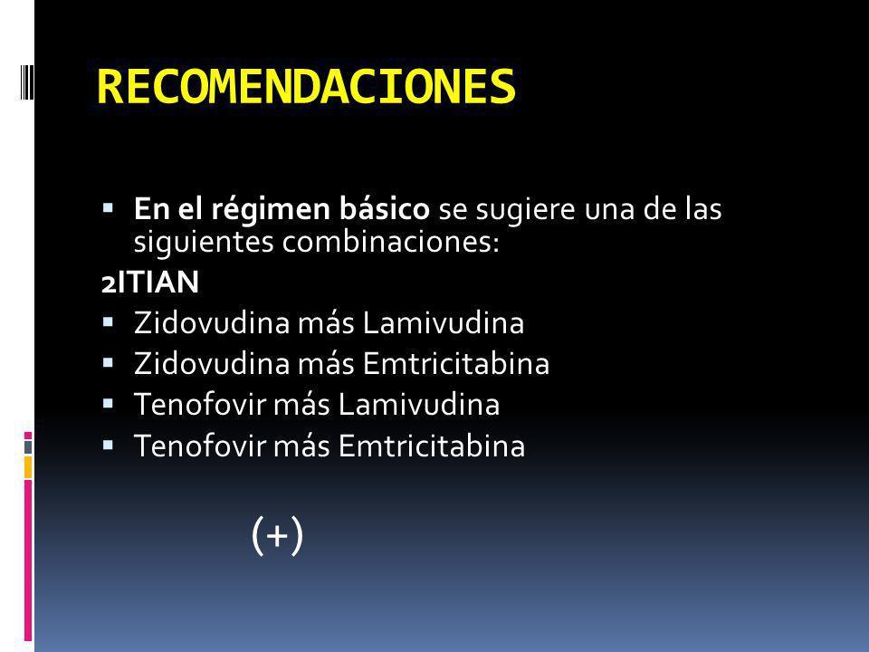 RECOMENDACIONES En el régimen básico se sugiere una de las siguientes combinaciones: 2ITIAN Zidovudina más Lamivudina Zidovudina más Emtricitabina Ten