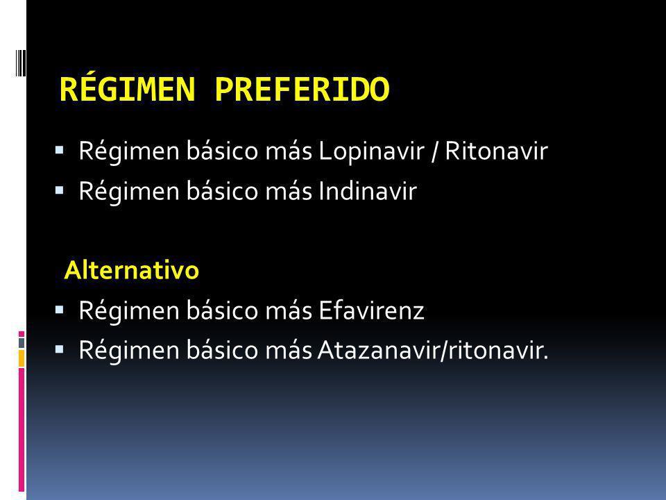 RÉGIMEN PREFERIDO Régimen básico más Lopinavir / Ritonavir Régimen básico más Indinavir Alternativo Régimen básico más Efavirenz Régimen básico más At