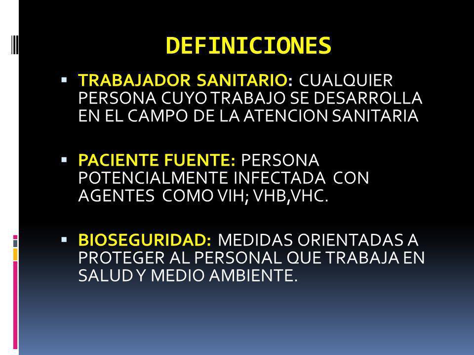 DEFINICIONES TRABAJADOR SANITARIO: CUALQUIER PERSONA CUYO TRABAJO SE DESARROLLA EN EL CAMPO DE LA ATENCION SANITARIA PACIENTE FUENTE: PERSONA POTENCIA
