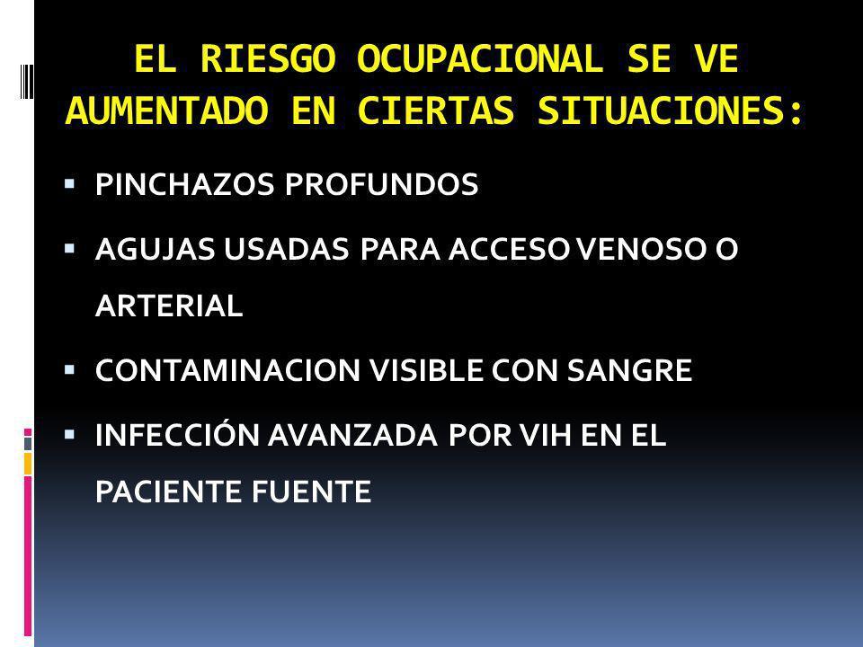 EL RIESGO OCUPACIONAL SE VE AUMENTADO EN CIERTAS SITUACIONES: PINCHAZOS PROFUNDOS AGUJAS USADAS PARA ACCESO VENOSO O ARTERIAL CONTAMINACION VISIBLE CO