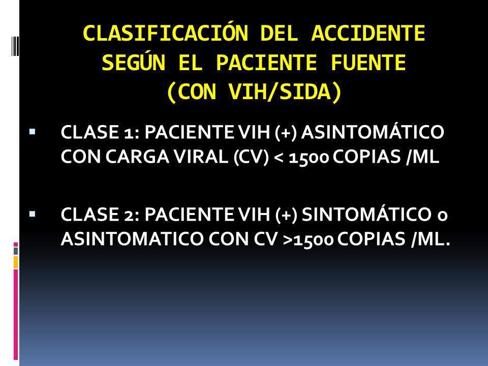 CLASIFICACIÓN DEL ACCIDENTE SEGÚN EL PACIENTE FUENTE (CON VIH/SIDA) CLASE 1: PACIENTE VIH (+) ASINTOMÁTICO CON CARGA VIRAL (CV) < 1500 COPIAS /ML CLAS