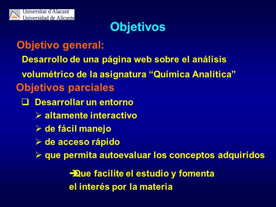 Objetivos Objetivo general: Desarrollo de una página web sobre el análisis volumétrico de la asignatura Química Analítica Que facilite el estudio y f