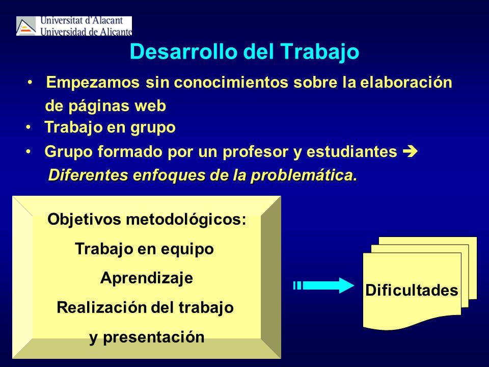 Objetivos metodológicos: Trabajo en equipo Aprendizaje Realización del trabajo y presentación Desarrollo del Trabajo Empezamos sin conocimientos sobre