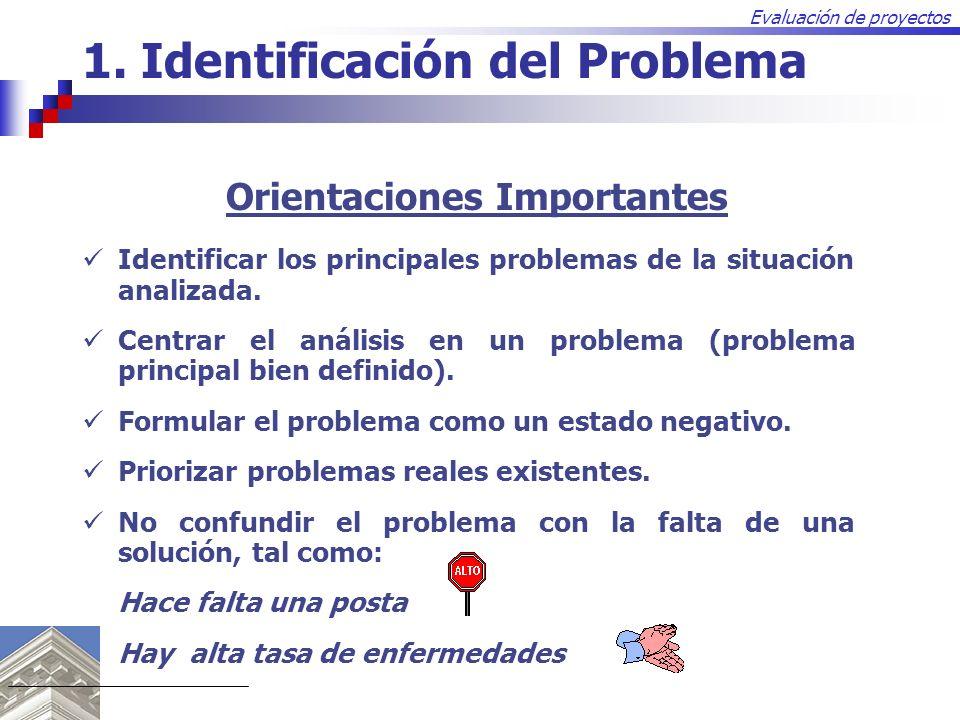 Evaluación de proyectos Identificar los principales problemas de la situación analizada. Centrar el análisis en un problema (problema principal bien d