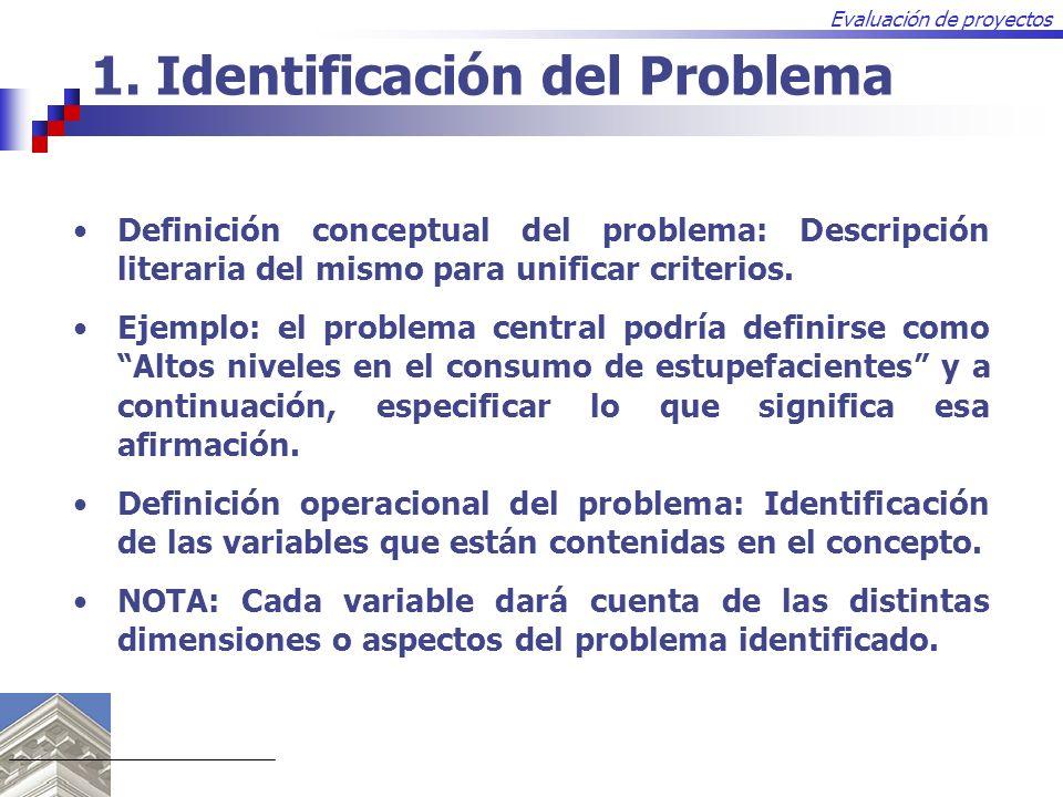 Evaluación de proyectos Definición conceptual del problema: Descripción literaria del mismo para unificar criterios. Ejemplo: el problema central podr