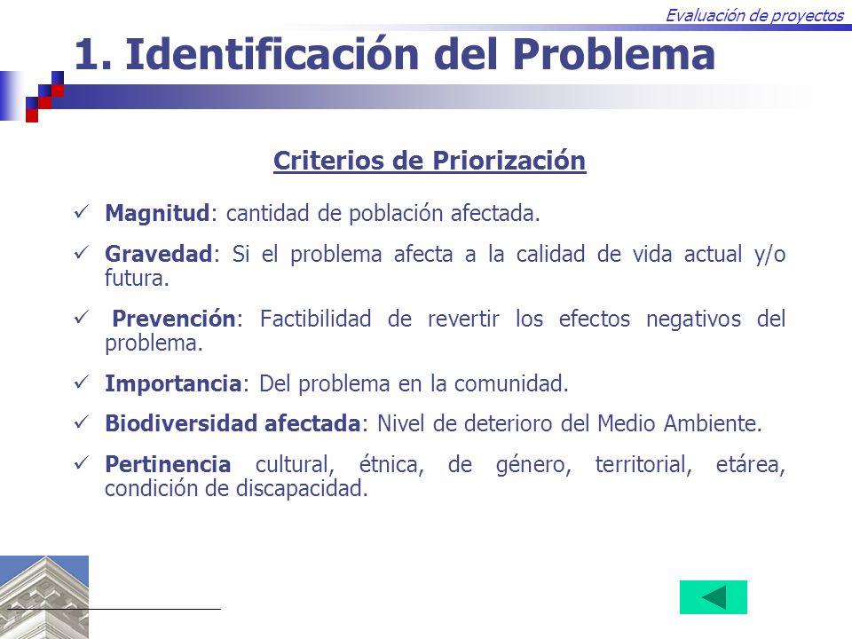 Evaluación de proyectos Criterios de Priorización Magnitud: cantidad de población afectada. Gravedad: Si el problema afecta a la calidad de vida actua