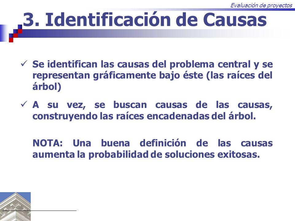 Evaluación de proyectos 3. Identificación de Causas Se identifican las causas del problema central y se representan gráficamente bajo éste (las raíces