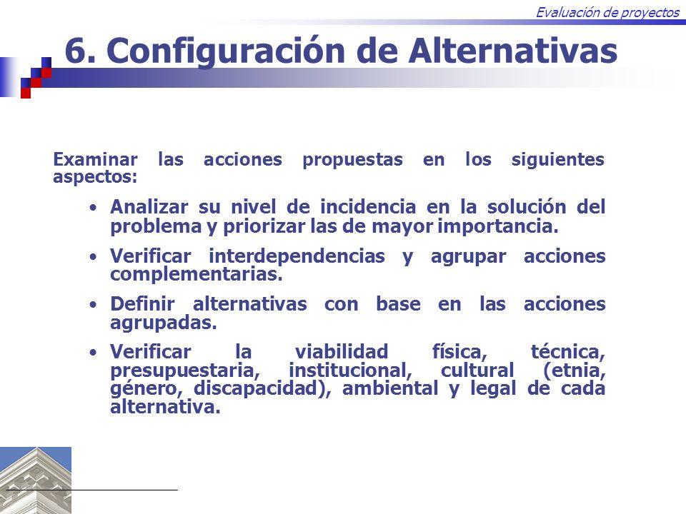 Evaluación de proyectos 6. Configuración de Alternativas Examinar las acciones propuestas en los siguientes aspectos: Analizar su nivel de incidencia