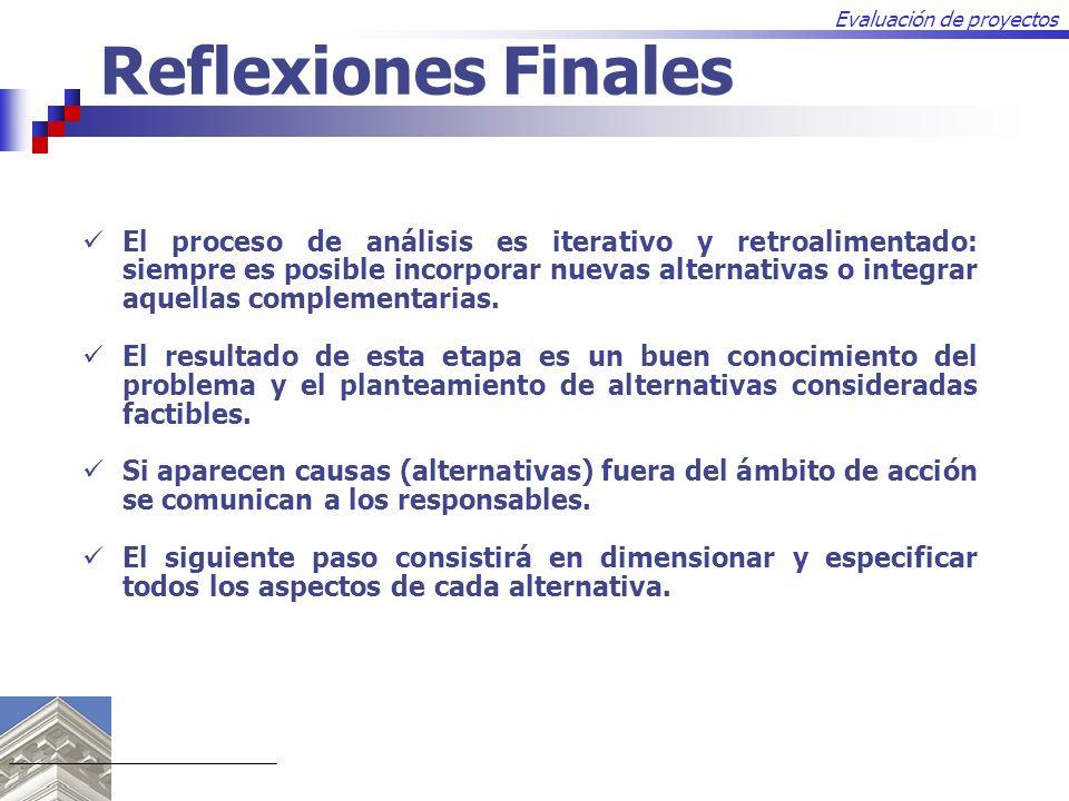 Evaluación de proyectos Reflexiones Finales El proceso de análisis es iterativo y retroalimentado: siempre es posible incorporar nuevas alternativas o