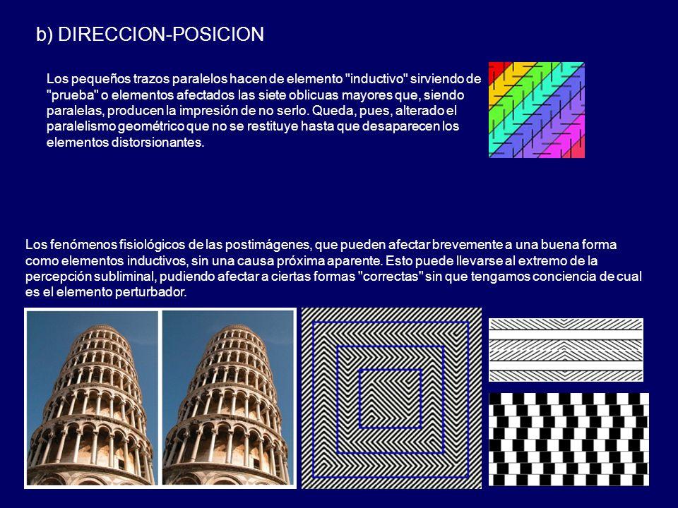 b) DIRECCION-POSICION Los pequeños trazos paralelos hacen de elemento inductivo sirviendo de prueba o elementos afectados las siete oblicuas mayores que, siendo paralelas, producen la impresión de no serlo.