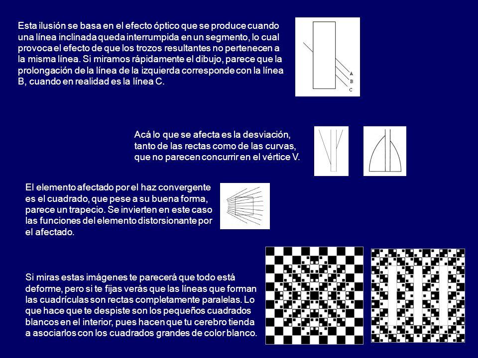 Esta ilusión se basa en el efecto óptico que se produce cuando una línea inclinada queda interrumpida en un segmento, lo cual provoca el efecto de que