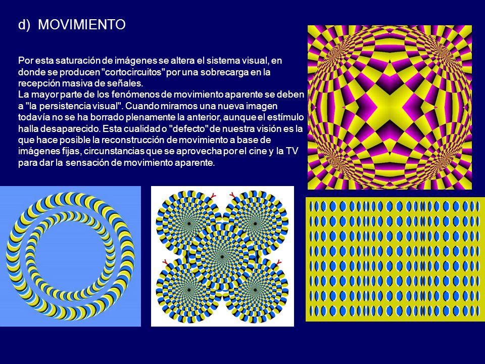 d) MOVIMIENTO Por esta saturación de imágenes se altera el sistema visual, en donde se producen cortocircuitos por una sobrecarga en la recepción masiva de señales.