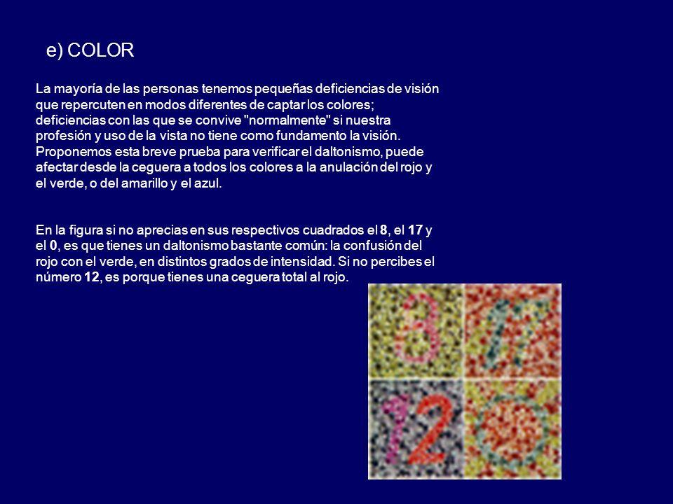 e) COLOR La mayoría de las personas tenemos pequeñas deficiencias de visión que repercuten en modos diferentes de captar los colores; deficiencias con