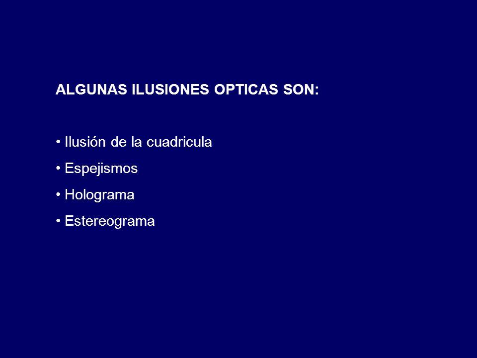 ALGUNAS ILUSIONES OPTICAS SON: Ilusión de la cuadricula Espejismos Holograma Estereograma