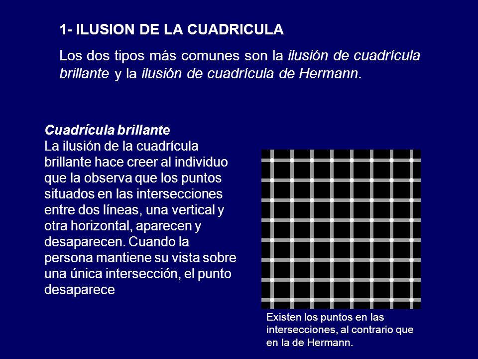 1- ILUSION DE LA CUADRICULA Los dos tipos más comunes son la ilusión de cuadrícula brillante y la ilusión de cuadrícula de Hermann. Cuadrícula brillan