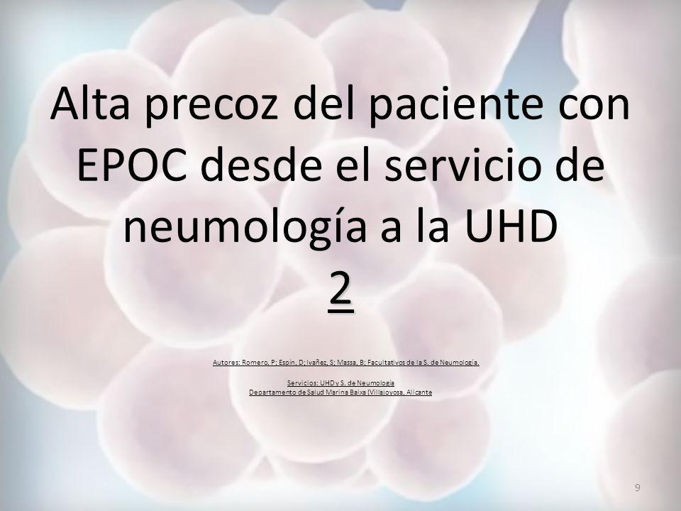 Los objetivos del protocolo son: Objetivo principal: homogeneizar los criterios de alta precoz del paciente ingresado en la S.