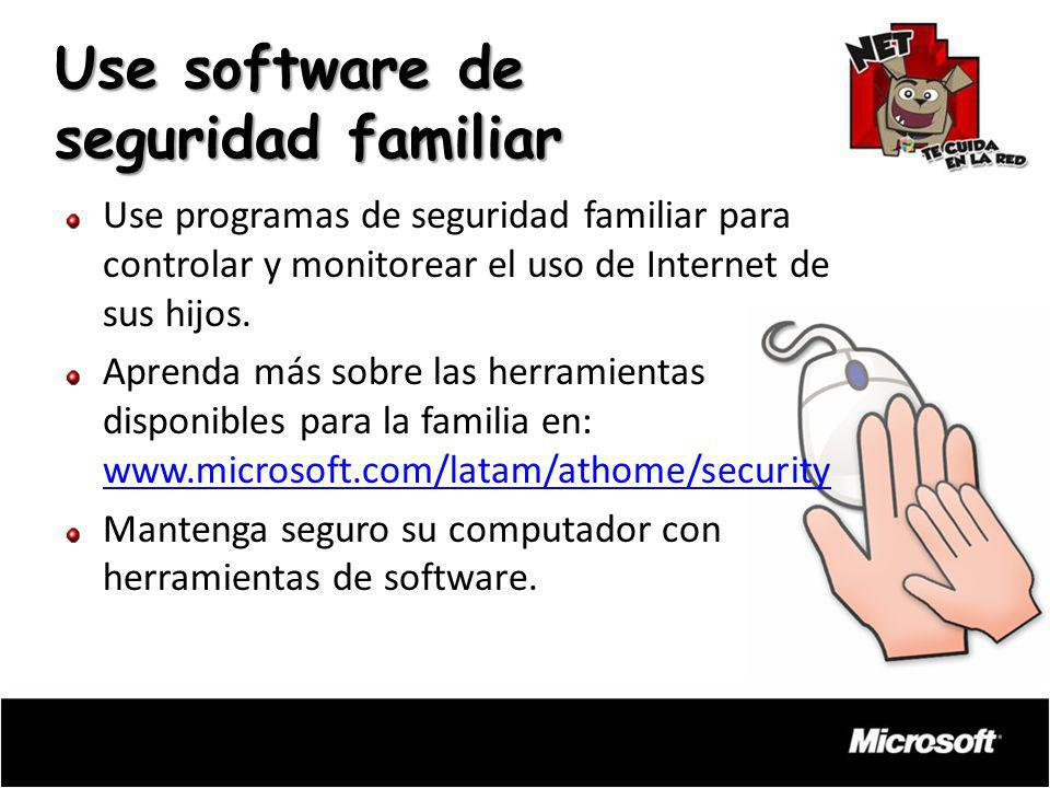 Use programas de seguridad familiar para controlar y monitorear el uso de Internet de sus hijos. Aprenda más sobre las herramientas disponibles para l