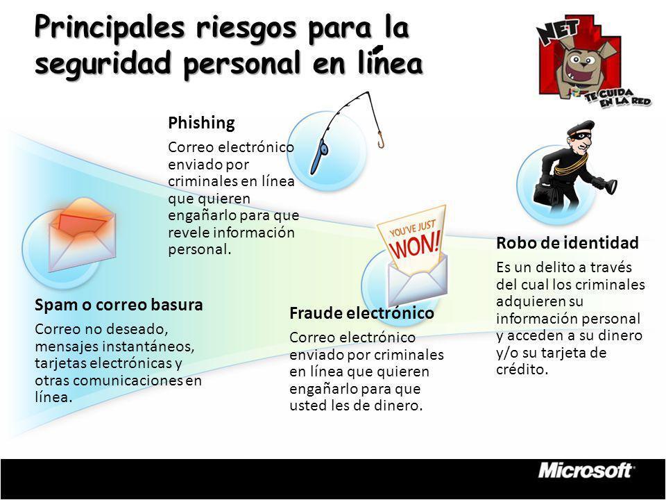 Spam o correo basura Correo no deseado, mensajes instantáneos, tarjetas electrónicas y otras comunicaciones en línea. Robo de identidad Es un delito a