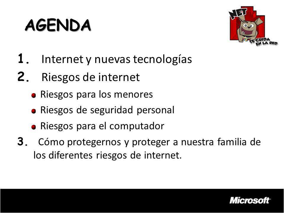 AGENDA 1. Internet y nuevas tecnologías 2. Riesgos de internet Riesgos para los menores Riesgos de seguridad personal Riesgos para el computador 3. Có