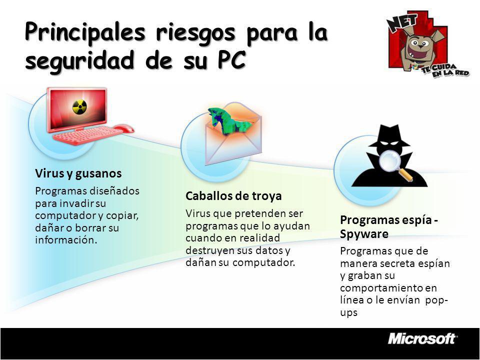 Virus y gusanos Programas diseñados para invadir su computador y copiar, dañar o borrar su información. Caballos de troya Virus que pretenden ser prog