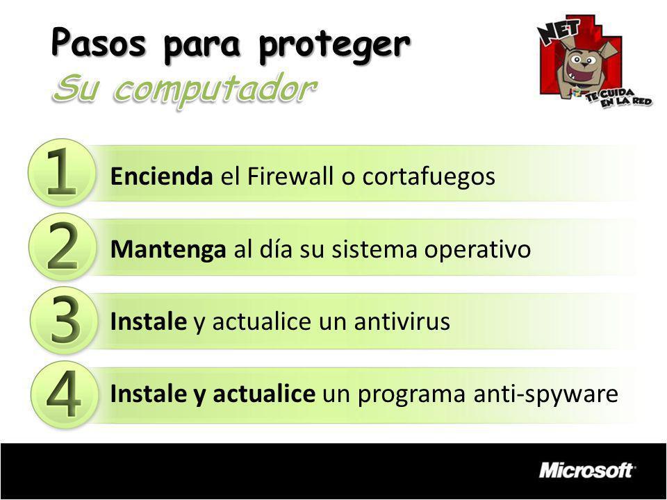 Encienda el Firewall o cortafuegos Mantenga al día su sistema operativo Instale y actualice un antivirus Instale y actualice un programa anti-spyware