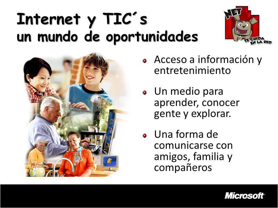 Internet y TIC´s un mundo de oportunidades Acceso a información y entretenimiento Un medio para aprender, conocer gente y explorar. Una forma de comun