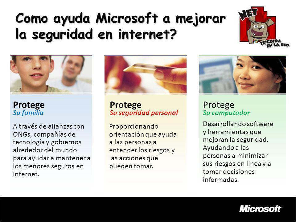 Como ayuda Microsoft a mejorar la seguridad en internet? Desarrollando software y herramientas que mejoran la seguridad. Ayudando a las personas a min