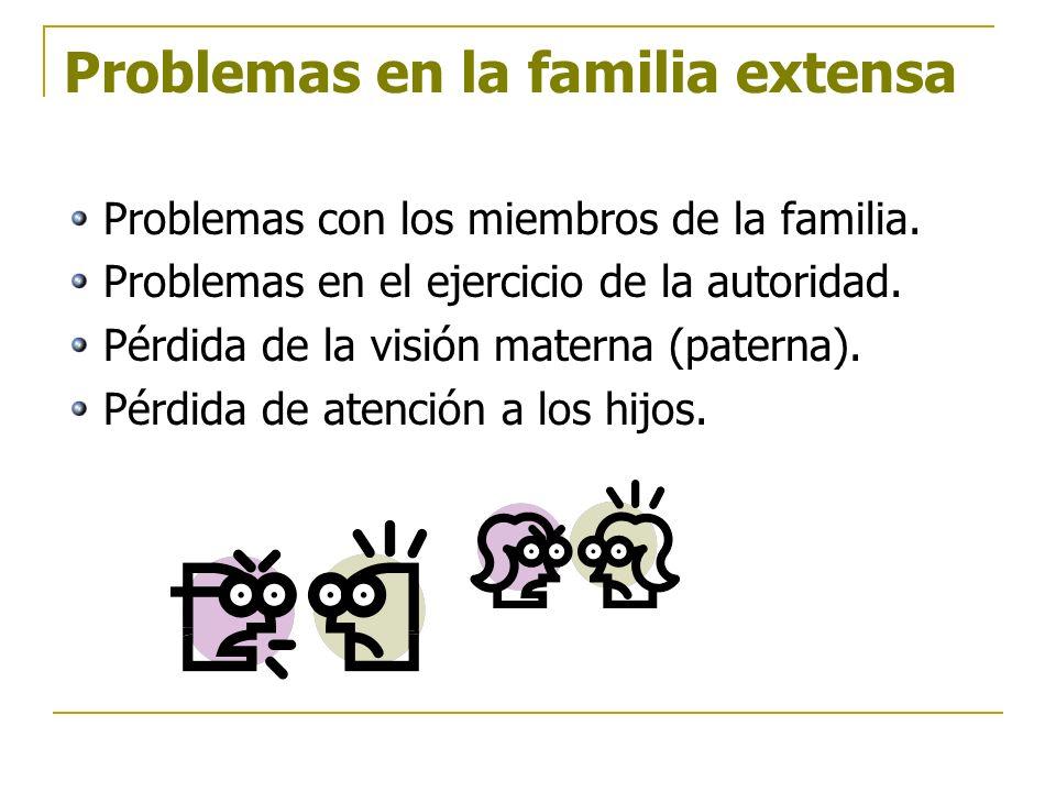 Problemas en la familia extensa Problemas con los miembros de la familia. Problemas en el ejercicio de la autoridad. Pérdida de la visión materna (pat