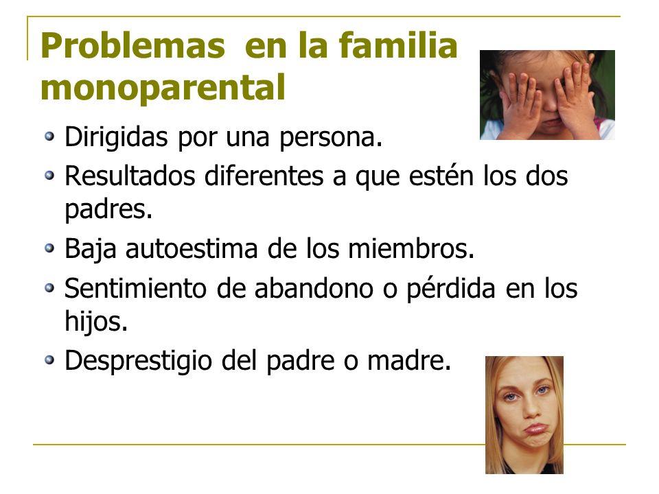 Problemas en la familia monoparental Dirigidas por una persona. Resultados diferentes a que estén los dos padres. Baja autoestima de los miembros. Sen