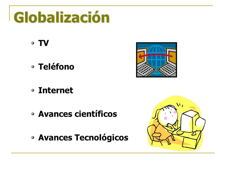 Globalización TV Teléfono Internet Avances científicos Avances Tecnológicos