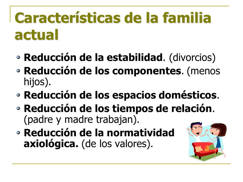 Características de la familia actual Reducción de la estabilidad. (divorcios) Reducción de los componentes. (menos hijos). Reducción de los espacios d